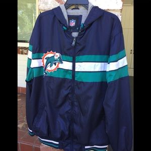NFL Miami Dolphins lined windbreaker with hood XL